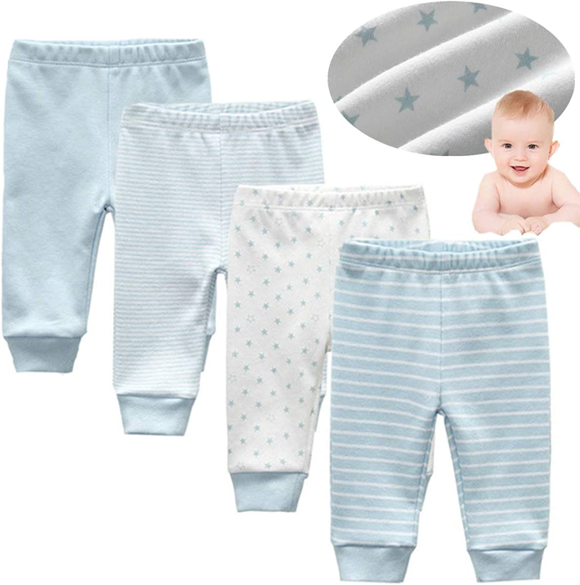 Kiddiezoom Baby-Boys 4-Pack Pant Baby Girls Organic Cotton Trousers