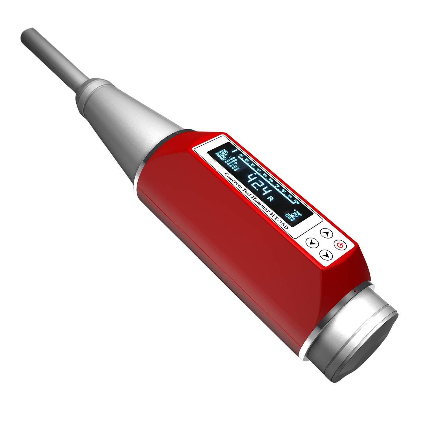 VTSYIQI Digital Brick Rebound Tester Gauge HT-75D Handy Brick Test Hammer Resiliometer OLED Display Measuring range 10 to 70N/mm² USB2.0 Communication 4000 Concrete Structures Data Hold