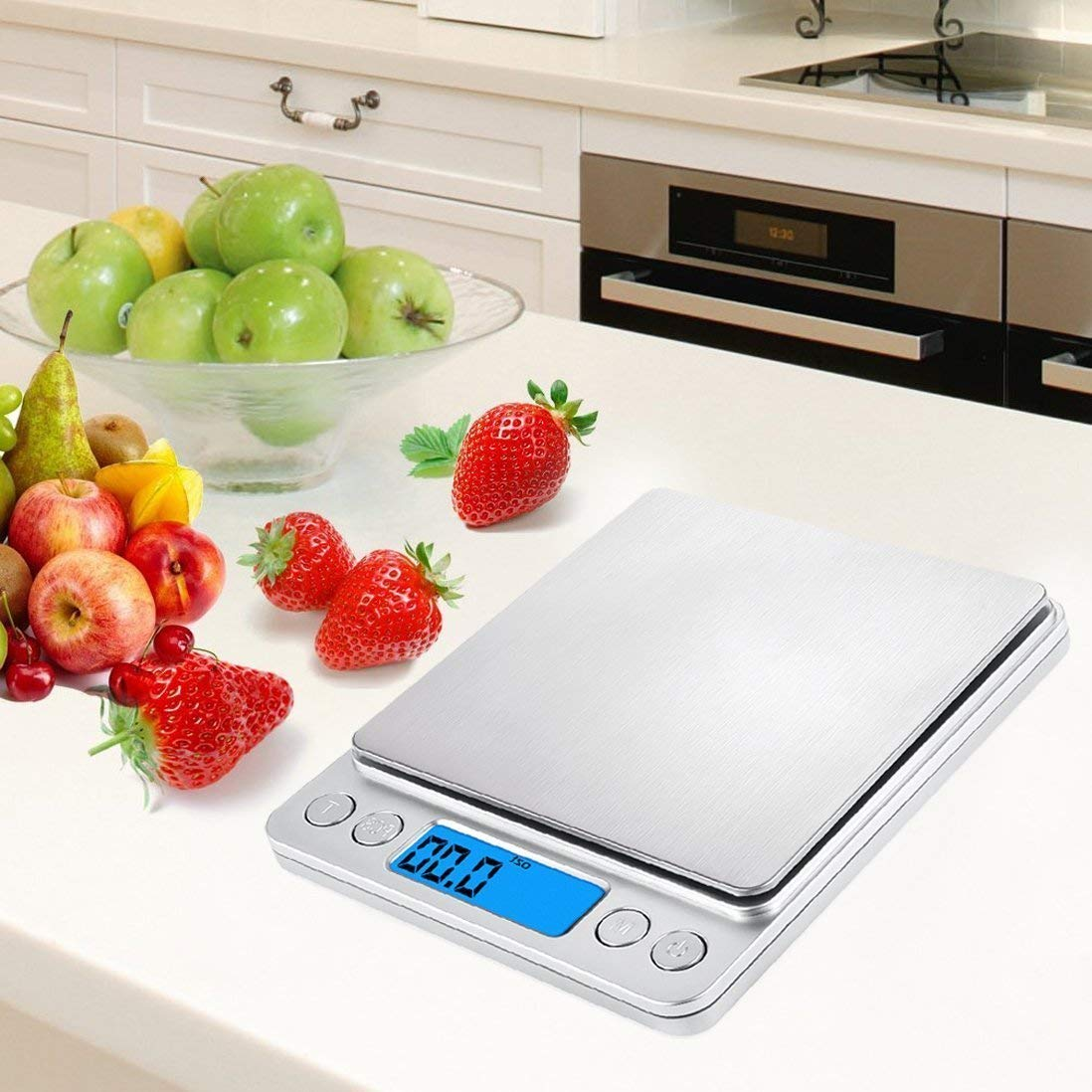 Eidyer Báscula Digital para Cocina, 3kg-0.1g, Batería incluida, 2 bandejas, de retroiluminación LED, para Ingredientes, joyería, café, Medicina, ...