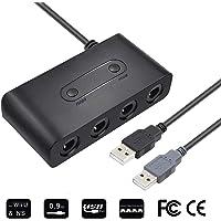 SendowTek Adaptador Nintendo Switch, Gamecube Adaptador de Controlador de 4 Soportes para Wii U, Nintendo Switch y PC USB