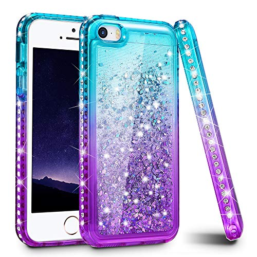 Ruky iPhone 5 5S Case, iPhone SE Case, Gradient Quicksand Series Glitter Flowing Liquid Floating Sparkly Bling Diamond Soft TPU Girls Women Cute Case for iPhone 5 5S SE (Aqua Purple) (Best Friend Cases For Iphone 5)