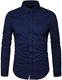 Men's Printed Dress Shirt-100% Cotton Casual Long Sleeve Shirt-Regular Fit Button Down Point Collar Shirt