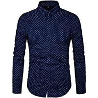 MUSE FATH Men's Printed Dress Shirt-100% Cotton Casual Long Sleeve Shirt-Regular Fit Button Down Point Collar Shirt