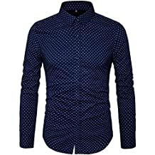 MUSE FATH Men's Printed Dress Shirt-Cotton Casual Long Sleeve Shirt-Regular Fit Button Down Point Collar Shirt