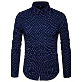 MUSE FATH Men's Button Down Dress Shirt-100% Cotton Casual Long Sleeve Shirt- Party Dress Shirt-Navy Blue-L