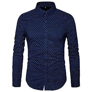 MUSE FATH Men's Printed Dress Shirt-Cotton Casual Long Sleeve Shirt-Regular Fit Button Down Point Collar Shirt