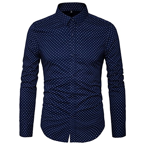 MUSE FATH Men's Printed Dress Shirt-100% Cotton Casual Long Sleeve Shirt- Button Down Point Collar Shirt-Navy Blue-2XL Check Pattern Mens Dress Shirt