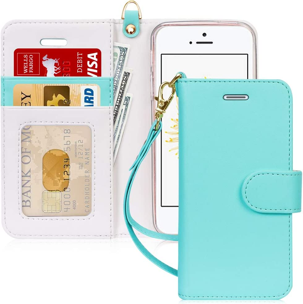 FYY Case for iPhone SE (1st gen-2016)/iPhone 5S/iPhone 5, [Kickstand Feature] Luxury PU Leather Wallet Case Flip Folio Cover with [Card Slots][Wrist Strap] for iPhone SE (1st gen-2016)/5S/5-Mint Green