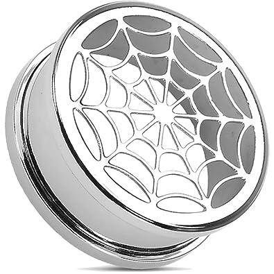 Hbj Unisex Tunnel Plug Spider Web Stainless Steel 10mm Psscr08 00