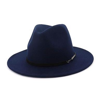 2e393f36c8e Winter Autumn Black Red Wool Top Fedora Hat Men Church Hats Women Elegant  Jazz Wide Brim Bowler Casual Cap at Amazon Men s Clothing store