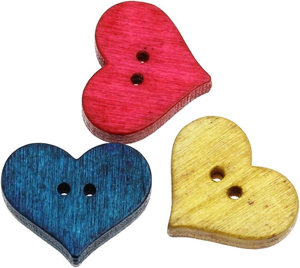10 Pieces Heart Shape Button  Buttons made of wood