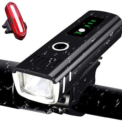 AMANKA Luces Bicicleta Recargable LED, Luz para Bicicleta por USB con Pantalla de Visualización de Potencia Conjunto,LED Linterna Bicicleta Impermeable para Bicicleta Carretera y Montaña
