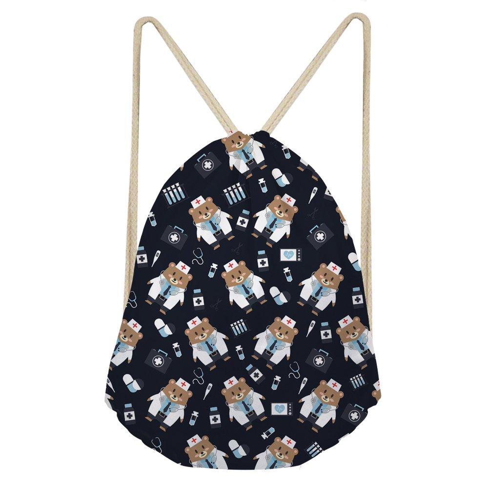 INSTANTARTS Sea Lion Shoulder Backpack Cute Animal Gymsack Drawsring Cinch Tote Shoe Pack