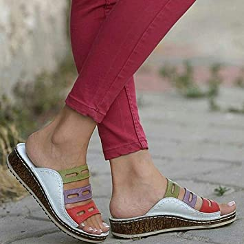 f08446722 2019 New Women Three-Color Stitching Sandals, Womdee Casual Sandals  Comfortable PU Material,