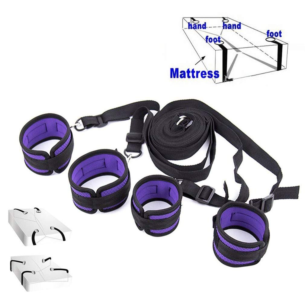 Niu-Man Soft Comfortable Cuffs for Ankle and Hand, Wrist - Fits Almost Any Size Mattress Bed Strap Set Kit