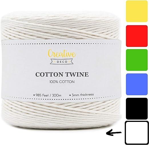 Creative Deco 300m Cuerda Macramé Algodón Blanca | 2-3 mm Espesor ...