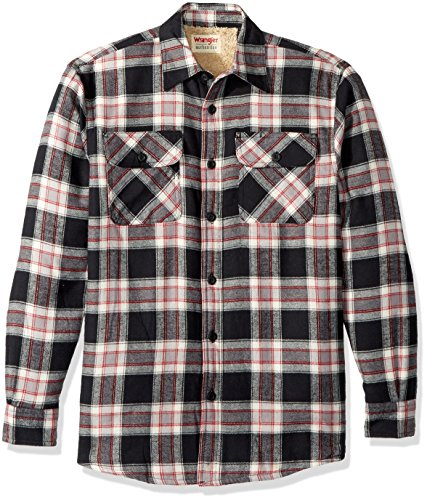 - Wrangler Authentics Men's Long Sleeve Sherpa Lined Flannel Shirt Jacket, Caviar, M