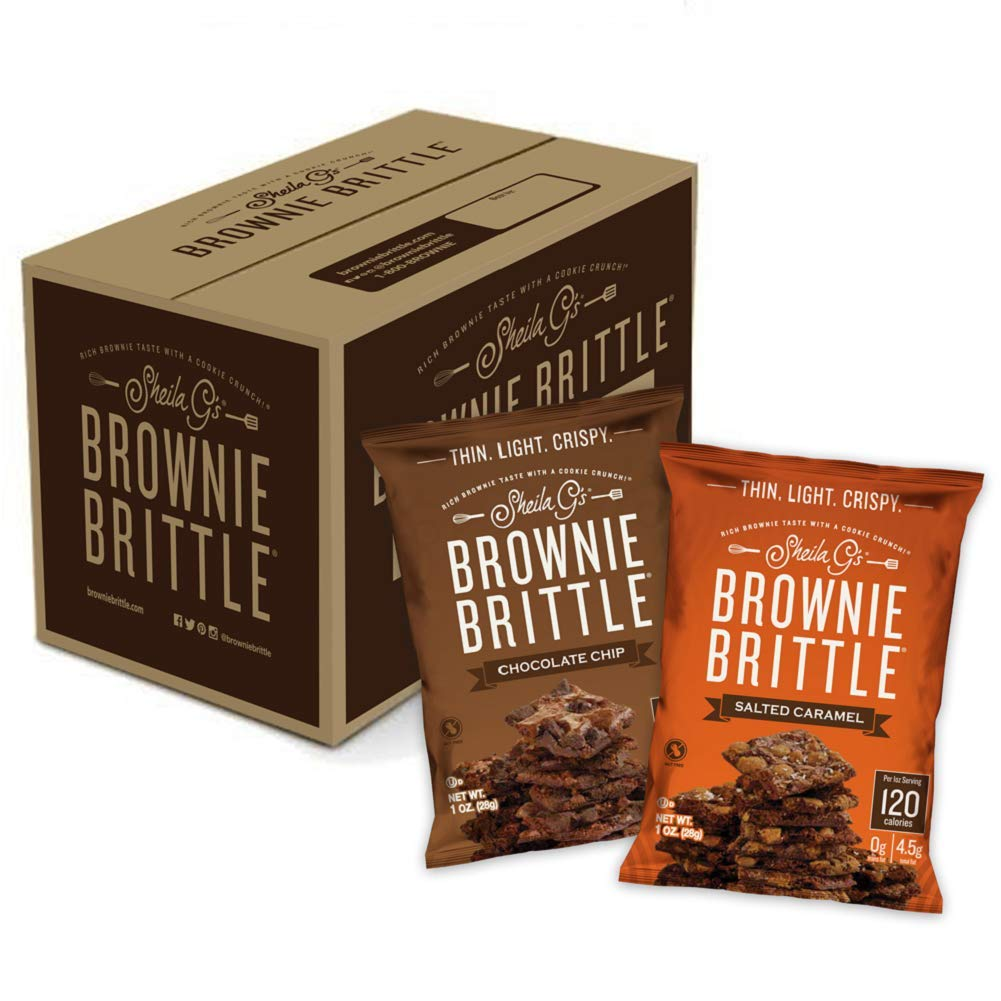 Sheila G's Brownie Brittle 1oz Variety Pack- Low Calorie, Sweets & Treats Dessert, Healthy Chocolate, Thin Sweet Crispy Snack-Rich Brownie Taste with a Cookie Crunch- 1oz. Bag, Pack of 20