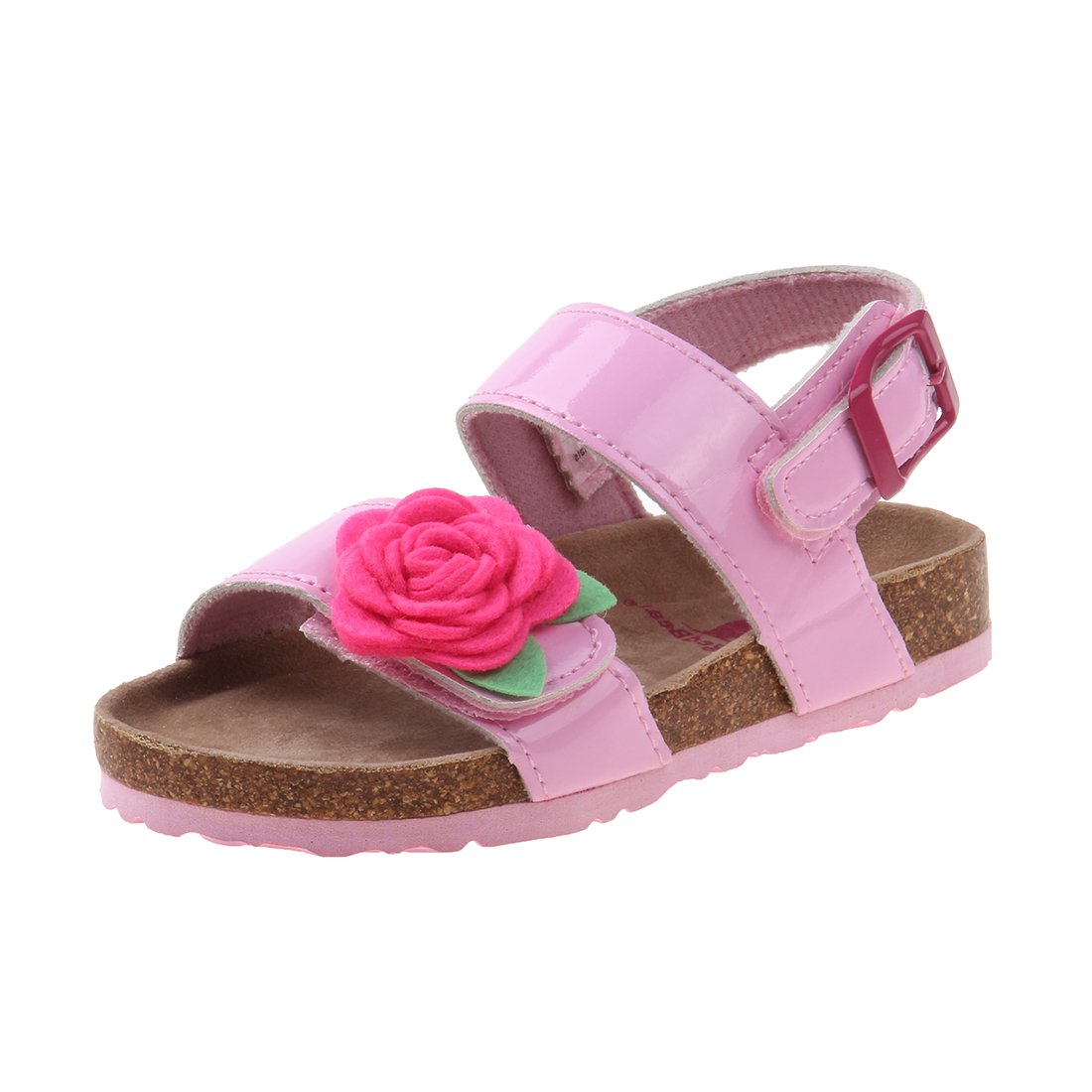 Rugged Bear Girls Cork Sandal with Flower, Pink Patent, 7 M US Toddler'
