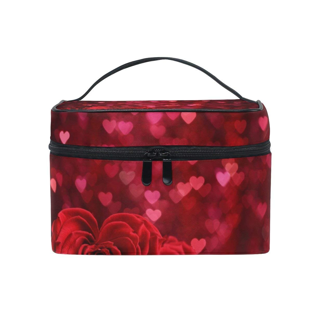 Makeup Organizer Love Red Rose Flowers Womens Zip Toiletry Bag Large Makeup Case Cute Cosmetic Bags for Girls