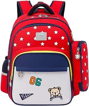 Mochila para niños, Estrella de Cinco Puntas Oso Mochila con Estuche de lápices Bolsa Portátil Impermeable para Estudiantes(Rojo y Gris): Amazon.es: Equipaje