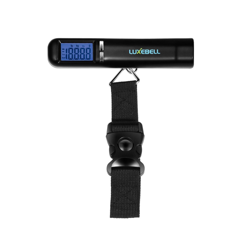 Luxebell® Pèse Bagage Electronique Maximum 50 kg Balance numérique portable pour Bagages, Poste, Voyage ou Shopping avec Piles fournies(Noir)