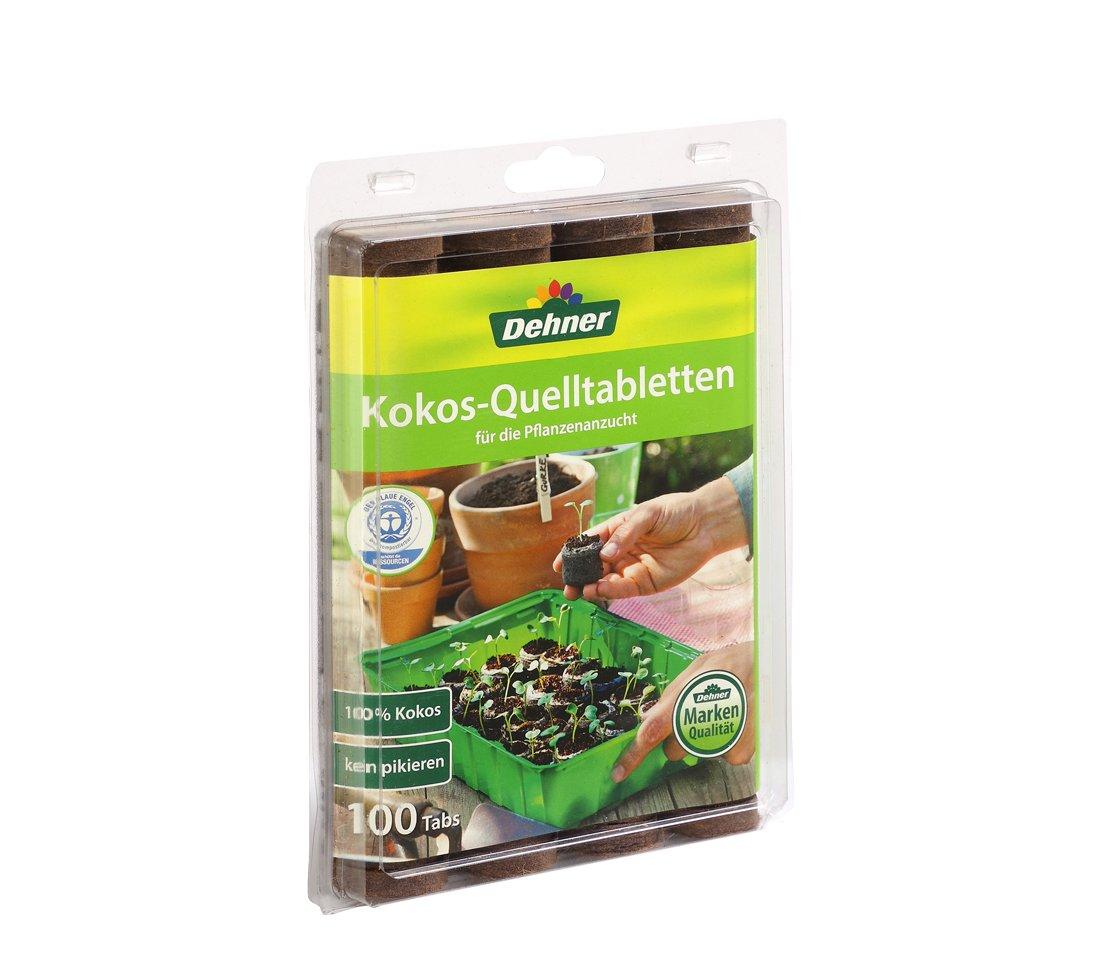 Dehner Kokos-Quelltabletten, mit Nährstoff-Mix, zur Anzucht von Stecklingen, Sämlingen und Saaten, Ø 38 mm, 100 Stück mit Nährstoff-Mix Sämlingen und Saaten Ø 38 mm  100 Stück