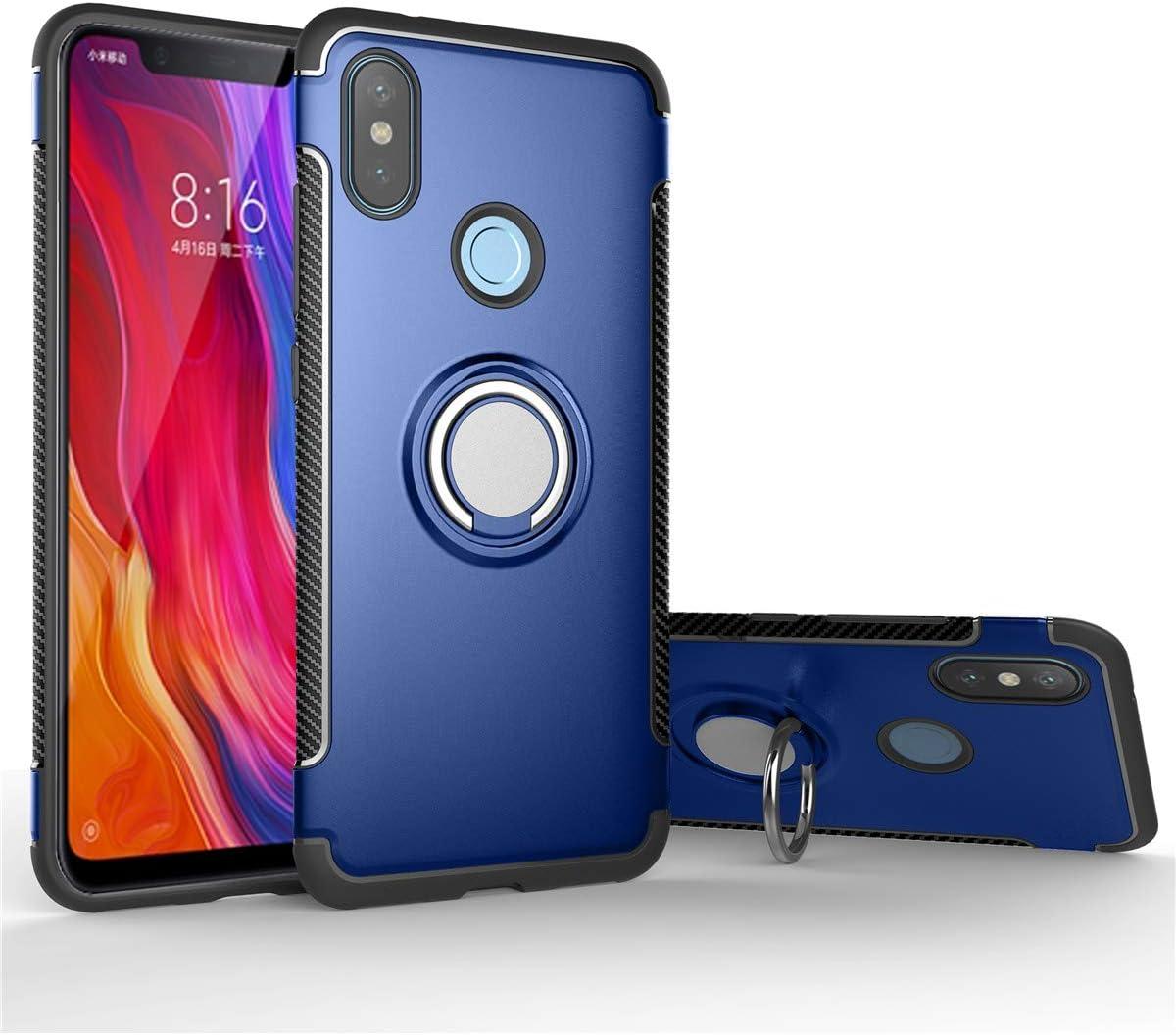 Mi 8 Funda para Xiaomi, Soporte de Coche Magn/ético Carcasa Doble Capa a Prueba de Choque Protectora Mi 8, Azul Oscuro Soporte de 360 /° Anillo Rotativo