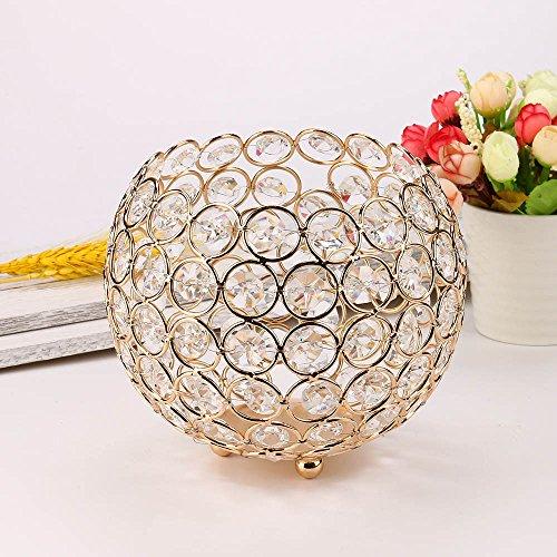 Maikouhai Valentines Day Anniversary Crystal Candlestick, Home Nightstand Bedside Table Decor Tea Light Candle Holders/Candle Shade for Wedding, Parties, Gathering, 240g (Gold, Dia 6 -