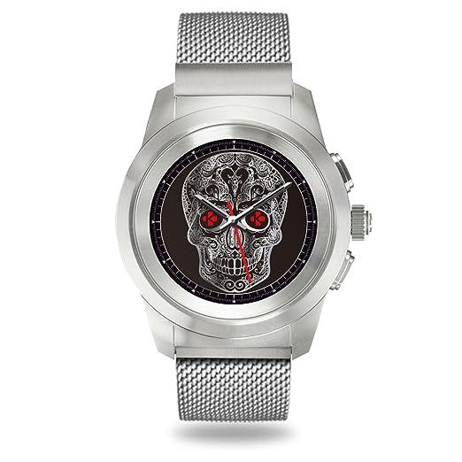 MyKronoz ZeTime Elite Reloj Inteligente híbrido 44mm con Agujas mecánicas sobre una Pantalla a Color táctil – Regular Cepillado Plateado/Milanese