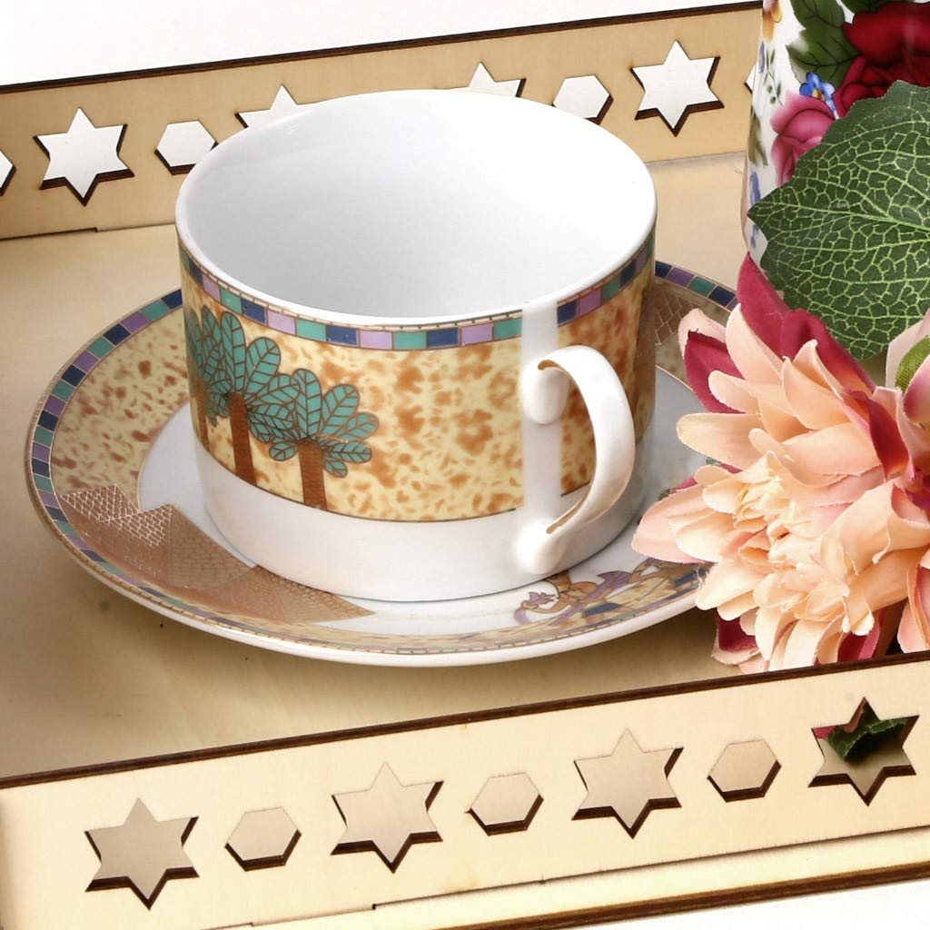 Staron Wood Serving Tray Wooden Artistic Eid Serving Tableware Tray Display Wood Decoration Food Drink Breakfast Trays (C) by Staron  (Image #4)