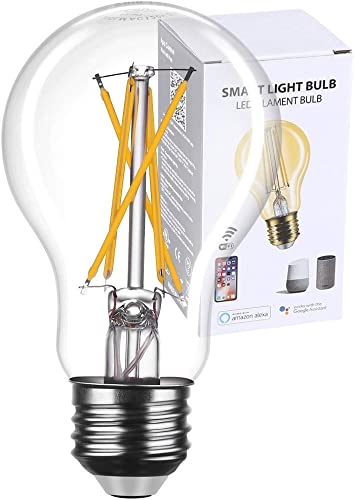 Smart Light Bulb Edison Works with Alexa and Google Assistant, Smart WiFi LED Bulbs Vintage Smart Bulbs No Hub Required, Dimmable Voice Command Control App Remote Control A19 A60 Clear Glass 1 Pack