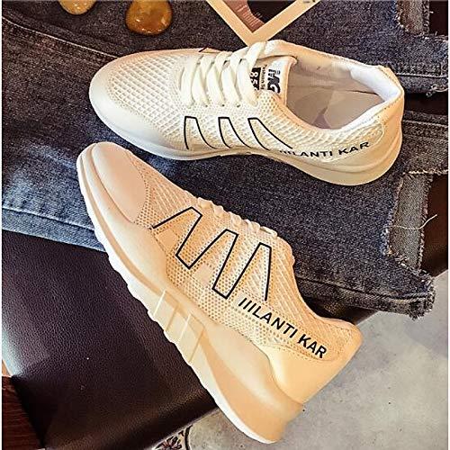 ZHZNVX Zapatos de Mujer de Malla de Primavera/Verano Comfort Sneakers Creepers Cerrado de Punta Blanca/Verde / Rosa White