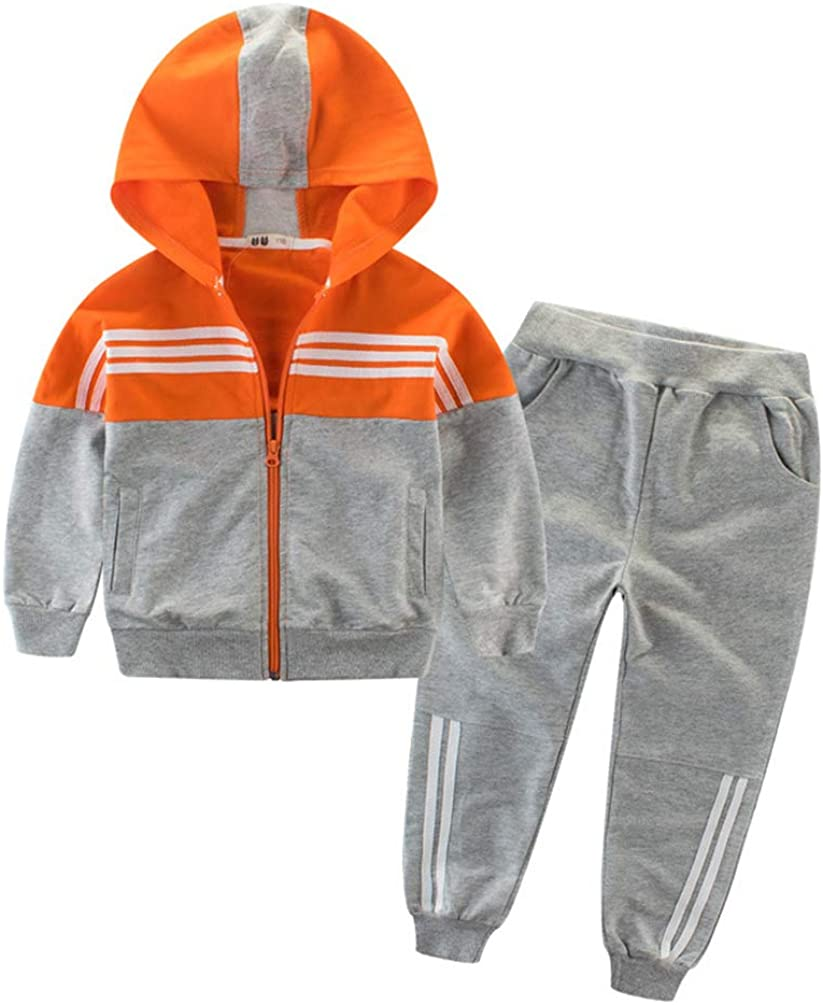 WINZIK Toddler Kids Boys Hooded Tracksuit Sweatshirt Tops Sweatpants Hoodie Sports Athletic Jog Suit 2Pcs Outfit Set