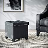 Nathan James Foldable Storage Ottoman Foot Rest and Seat with Feet, Cube, Payton