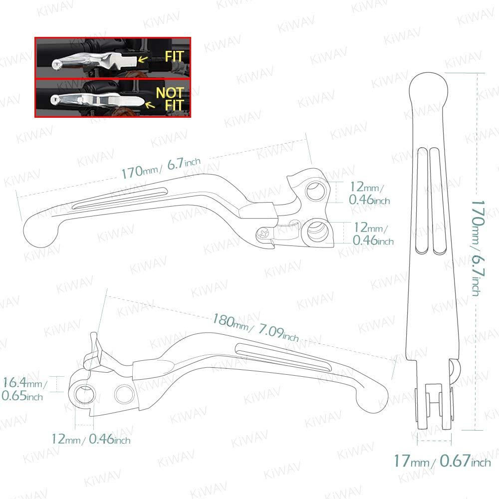 KiWAV Slotted cut 10202B Ergonomic hand control levers black for Harley Davidson