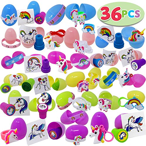 36 PCs Prefilled Easter Eggs with Unicorn Party Favors Supplies Set Fills w/ Rubber Rings, Keychains, Bracelet, Tattoos, Stamps for Easter Eggs Hunt Game, Easter Theme Party, Easter Egg Stuff, - Easter Basket Oriental