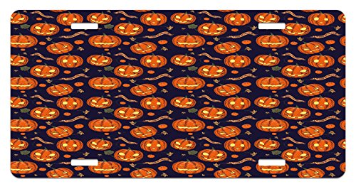 Halloween License Plate by Lunarable, Pumpkins Pattern Different Face Expressions Happy Angry Scary Puzzled, High Gloss Aluminum Novelty Plate, 5.88 L X 11.88 W Inches, Orange Indigo (Scary Halloween Pumpkins Patterns)