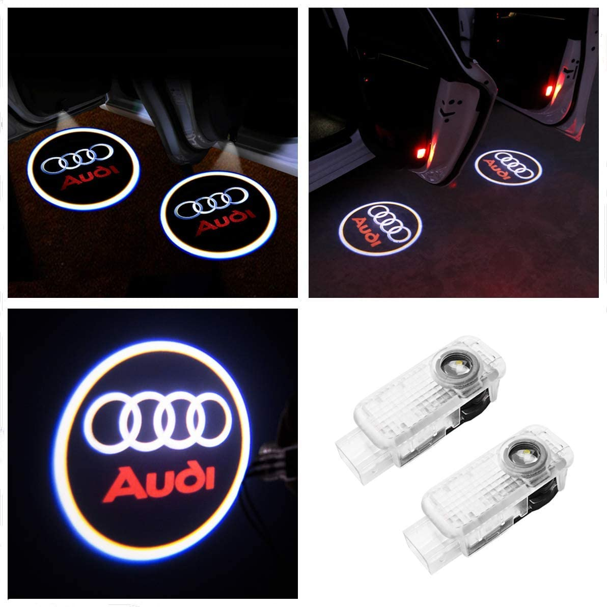 PRXD 2 piezas Puerta de coche Luz de logotipo LED Proyector láser Luces Fantasma Sombra Lámpara de bienvenida Luz de cortesía, Para A1 A3 A4 A6 A8, R8 TT Q7 Q5, etc