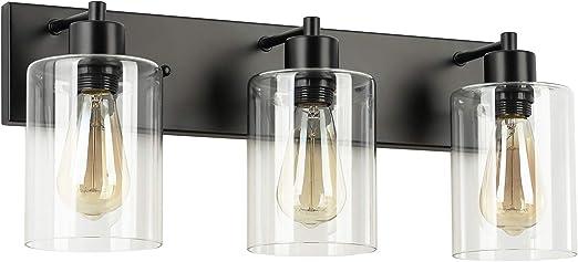 ZZ Joakoah Vintage 3-Light Bathroom Vanity Light with Clear Glass Shades, Black Metal Wall Lamp Sconce Light Fixture for Bathroom