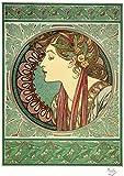 Alphonse Mucha Art Nouveau Laurel Print, A3 Size 16 x 11 inches [41 x 28 cm] Ready to Frame