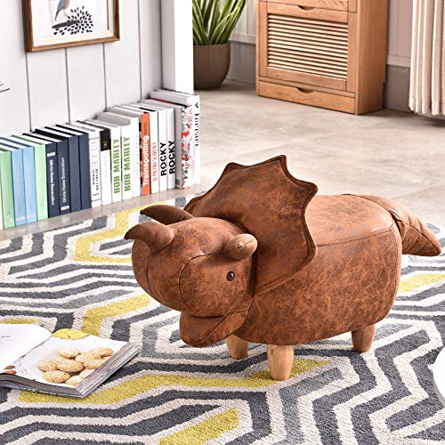 JOYBASE Cute Animal Ottoman, Living Room Footrest Stool, Kids Ride on Seat, Gift for Children and Adults (Dinosaur)