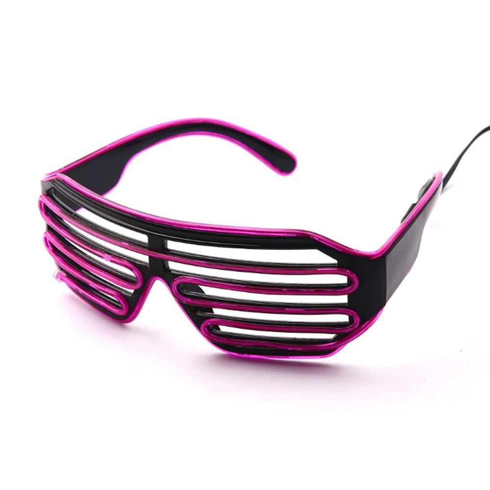 d7a24227e11 Lerway Black Frame Neon El Wire LED Lighting Up Slotted Shutter Glasses  Eyeglasses Eyewear + Standard