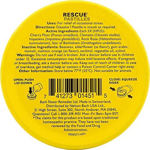 RESCUE PASTILLES, Homeopathic Stress Relief, Natural Orange & Elderflower Flavor – 35 Pastilles 61W6CHkL8RL