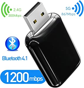 1200Mbps Bluetooth 4.1 USB WiFi Adapter, 802.11AC Dual Band 2.4Ghz / 5.8Ghz USB Wireless Adapter, USB WiFi Dongle for Desktop/Computer, Support OS Win Vista/XP/7/8.1/10/MacOS 10.6~10.15.3