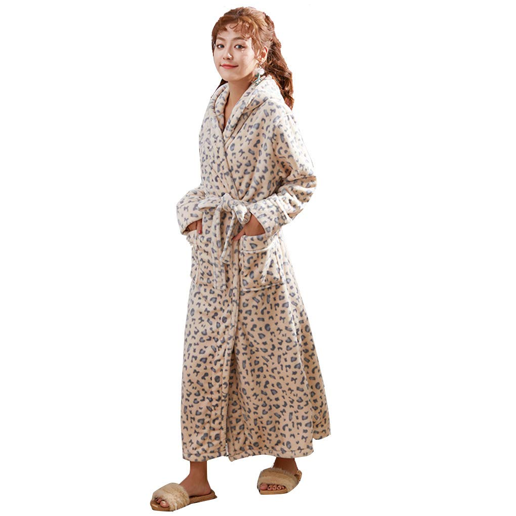 1 WL Ladies Dressing Gown Bathrobe Robe Lounge Plush Fleece Luxury Terry Towelling Sleepwear Hooded Present for Ladies Gym Shower Spa,1,XL
