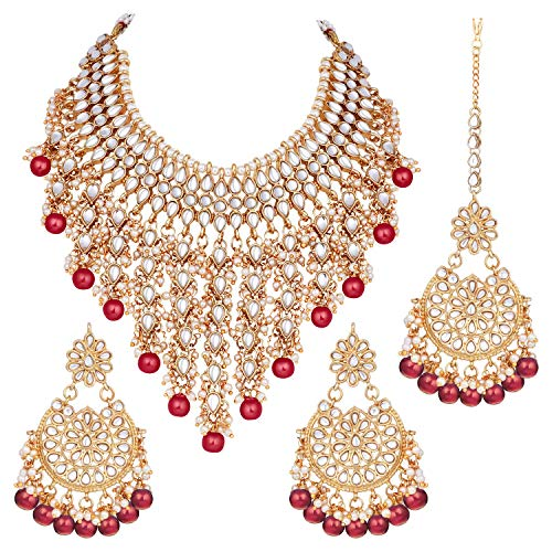 Aheli Indian Traditional Kundan Necklace Earrings and Mangtika Jewelry Set Wedding Party Wear for Her