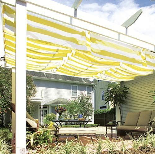 Windhager Toldo Vela de protección Solar tecnología de tensado de Cables 270 x 140 cm, Ideal para pérgola o Invernadero, Amarillo/Blanco, 10875: Amazon.es: Jardín