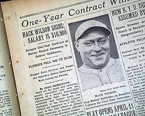 Amazon com: Best HACK WILSON Outfielder Signs w/ Brooklyn