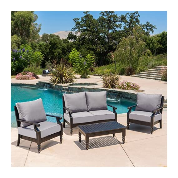"Christopher Knight Home Westin Outdoor 4 Pc Aluminum Frame Deep Seating Water Resistant Cushion Chat Set - This sleek, elegant, sophisticated outdoor chat set is the perfect addition to any patio setting. Featuring a strong aluminum frame that is rust resistant along with extra thick water resistant cushions, this set has an air of grace all its own. The D seating also allows for maximum comfort while in use, making this set not only the most comfortable, but the most enjoyable to use all summer long. Includes: Two (2) Club Chairs, One (1) Loveseat, One (1) Coffee Table Dimensions - Club Chair: 32.50""D x 29.75""W x 36.70""H 